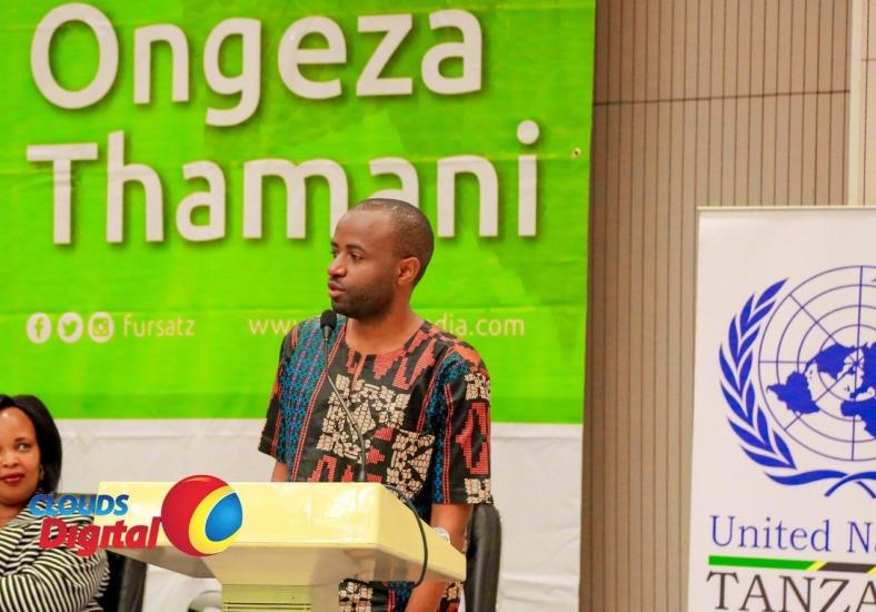 Music Artist and Global Goals Youth Champion, Niki wa Pili speaking during FURSA Dar