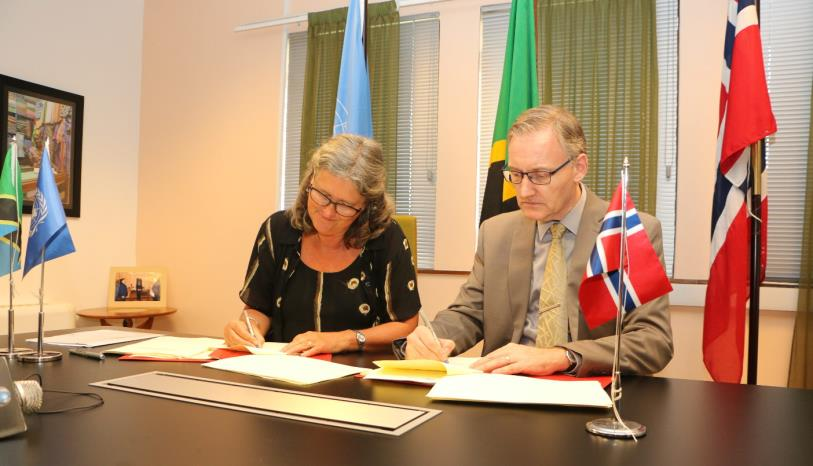 Norwegian Ambassador, H.E. Hanne-Marie Kaarstad and UN Resident Coordinator Mr. Alvaro Rodriguez