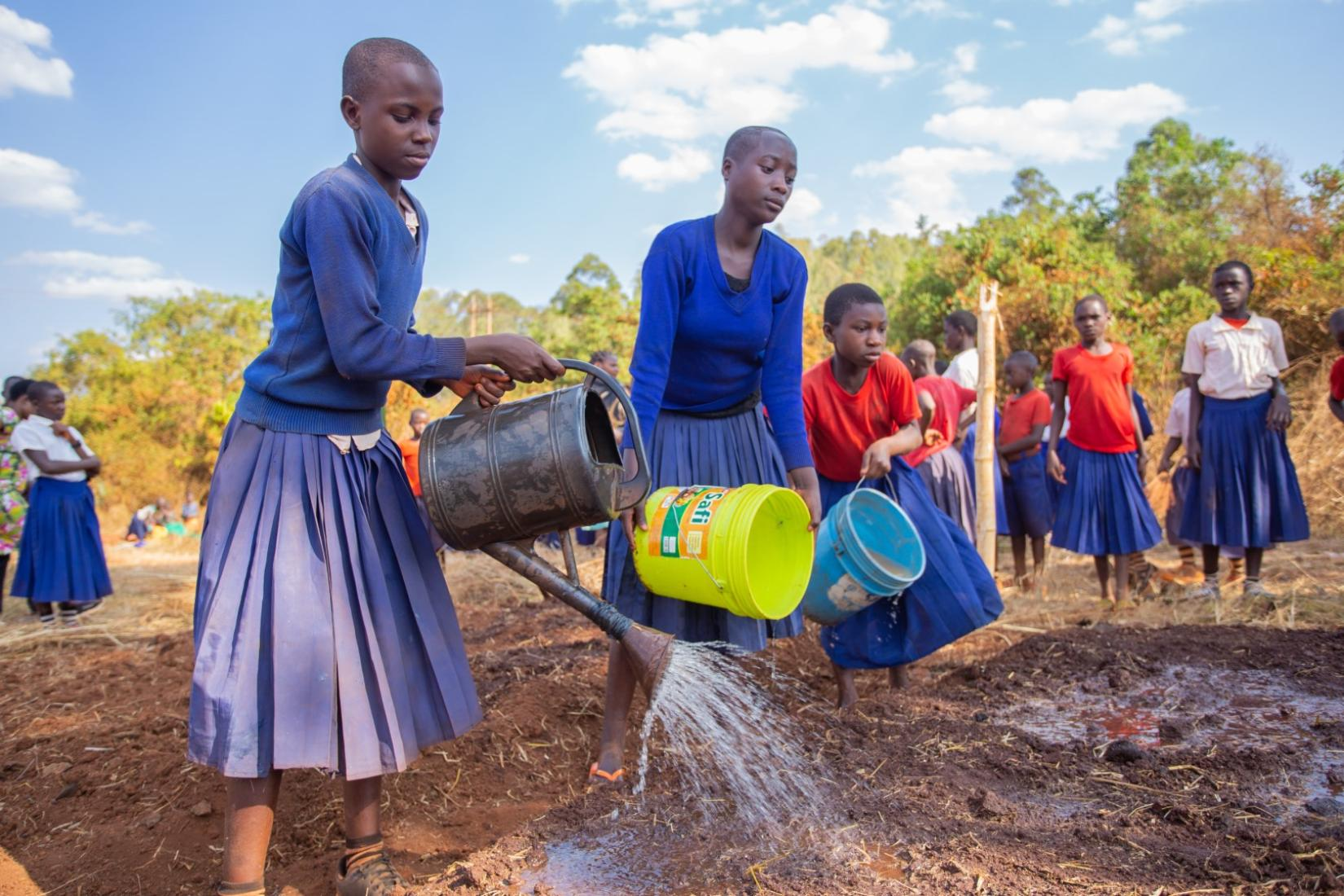 Pupils watering during an Agriculture class